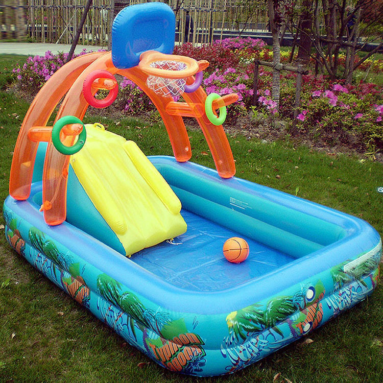 Hot Sale Multifunction Inflatable Splash Paddling Pool Swimming Spray Game Pool With Slide For Kids Children