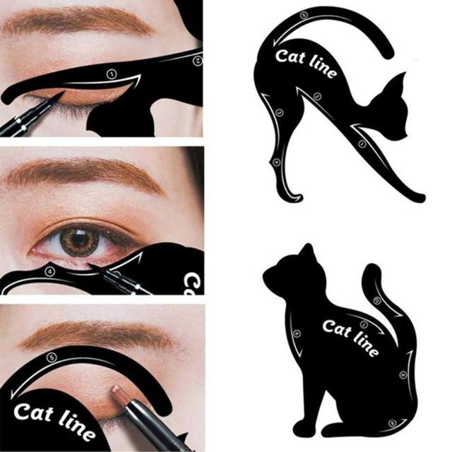 Hot 2pcs/Set Beauty Eyebrow mold Cat  Eye Makeup Tool Eyeliner Stencil Makeup Eyebrow Models Stamp Template Card for women girl