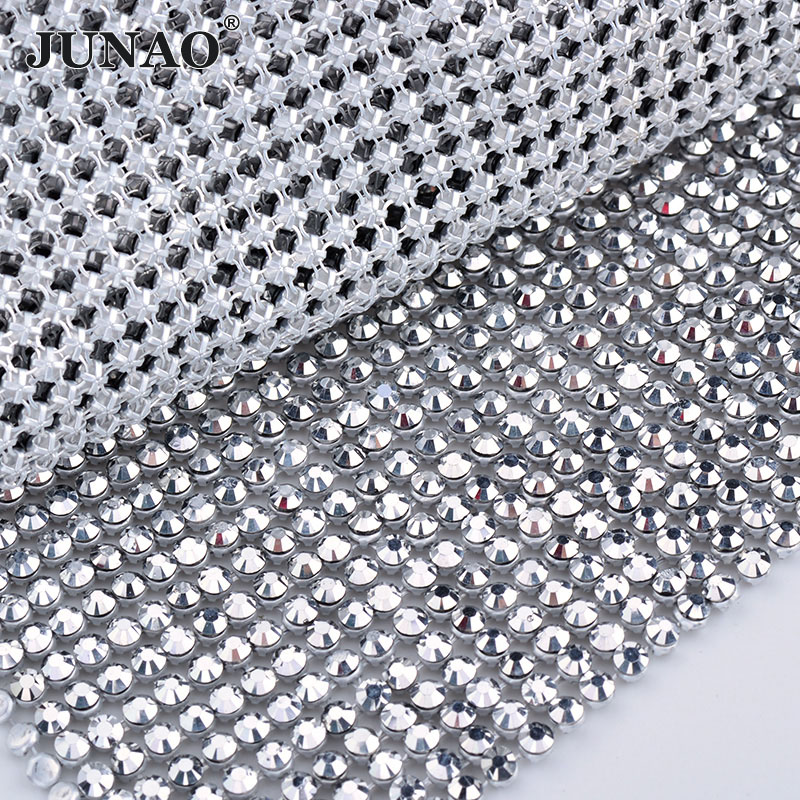 JUNAO 45x120cm Silver Color Crystal Fabric Resin Rhinestones Mesh Trim Metal Aluminum Base Strass Rolls for