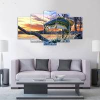 5 Panele Hd Drukowane Skaczący Ryby Zwierząt Malarstwo Na Płótnie Wystrój Pokoju Plakat Obraz Płótno P0323 sprzedawca dostawca