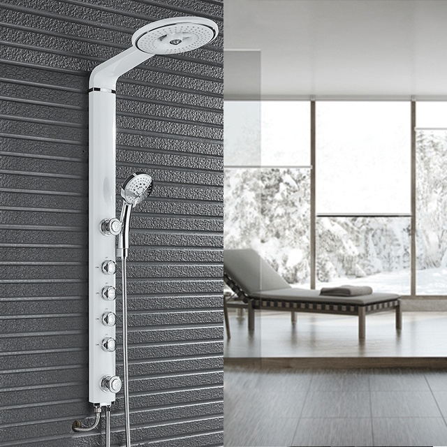 White Black Bathroom Shower Set Rain Head Faucet Column With Handles