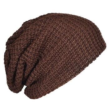 Mens Slouchy Long Beanie Knit Cap for Summer Winter Oversize brown knit cap