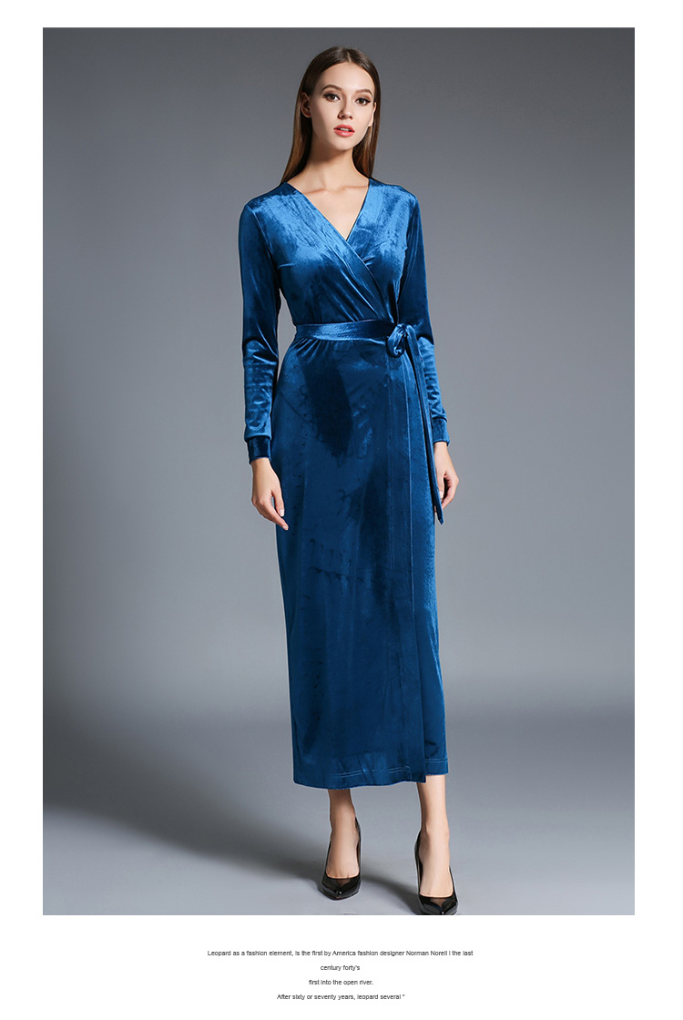 Winter Women Long Sleeved Velvet Maxi Dresses Vetement Femme 2018 ...
