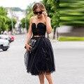 Sexy preto 2 peças Tulle Prom vestidos Tea comprimento verão 2016 vestidos de baile querida Custom Design vestidos Semi Lady vestido de festa