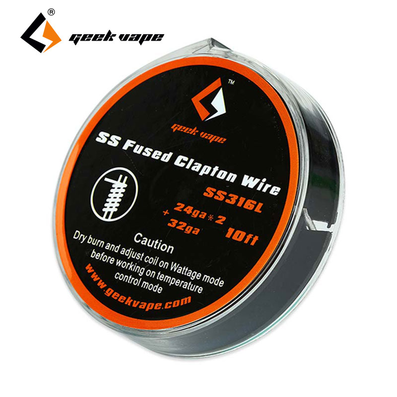 Orginal 10ft GeekVape SS Fused Clapton Wire 24GAx2+32GA Vs SS Fused Clapton TC Wire 26GAx2/Paralleled+30GA GeekVape DIY Coils