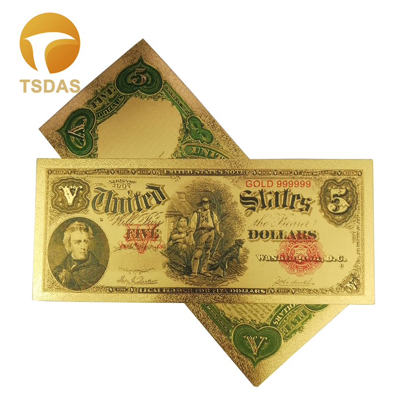 10pcs/lot 1907 Years Colorful USA Banknotes 5 Dollar Banknote 24K Gold Plated Money America image