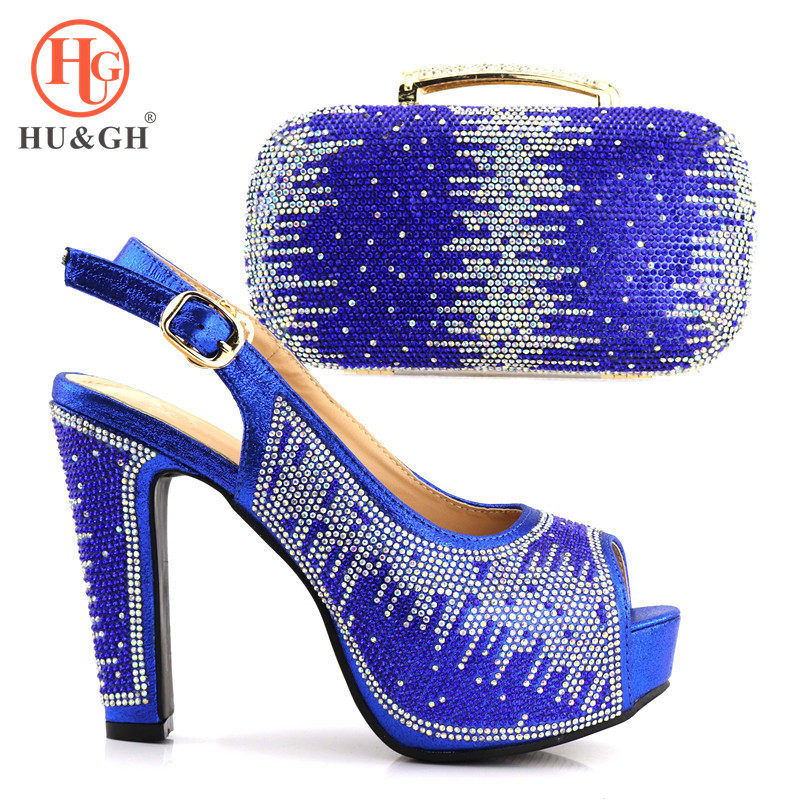 2018 New Royal Blue African shoes and bag set for wedding Italian shoe with matching bag design ladies matching shoe and bag doershow italian shoe with matching bag silver african shoe and bag set new design matching shoes and bags for party bch1 6