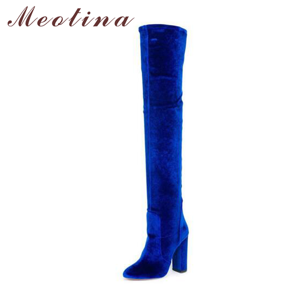 Meotina Luxury Women Winter Boots Velvet Over Knee Boots High Heel Thigh High Boots Autumn Zip Pointed Toe Stretch Shoe Blue Red q switched nd yag laser head tip probe for sale with wholesale price 1064nm