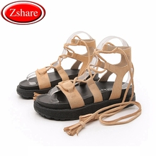 34-43 Size Women Flat Sandals Summer 2019 Ankle Strap Cow Suede Women Shoes Platform Sandals Peep-toe Flat Roman Female Sandals недорого