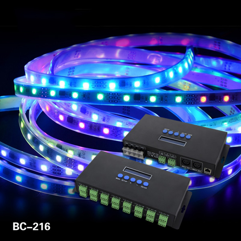 16 Channels Artnet To SPI /DMX  WS2811 WS2812B SK6812 2801 8806 Led Pixel Controller 340pixels*16CH DC5V-24V control BC-216