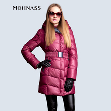 MOHNASS 2015 Winter Hooded design Elastic Belt Long and Thick Overcoat waistband Elegant Slim down coat  2A7226-20