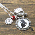 12pcs/lot Beauty and the Beast Necklace Tale As Old As Time glass dome  flower charm necklace silver