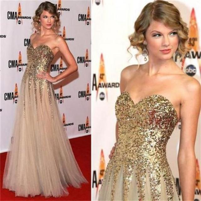 Red Carpet Gold Dress
