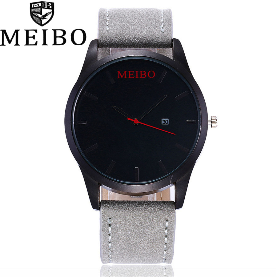 MEIBO Brand Top Men Casual Simple Quartz Sport Army Military Watch Quartz Watch Wristwatch Vintage Leather Strap Watches meibo fashion women hollow flower wristwatch luxury leather strap quartz watch female watch gift blue