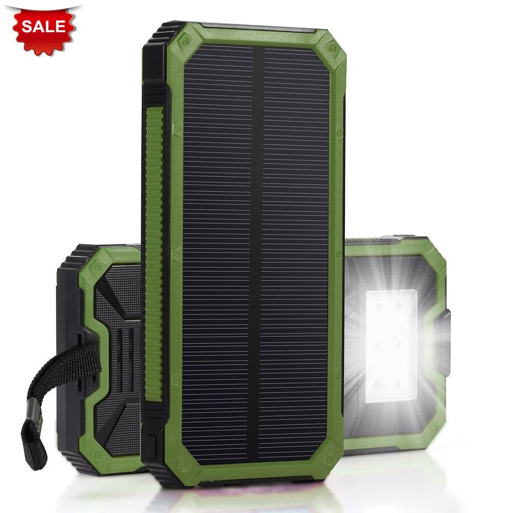 PowerGreen Portable External Phone Battery Solar Power Bank 15000mAh Solar Mobile