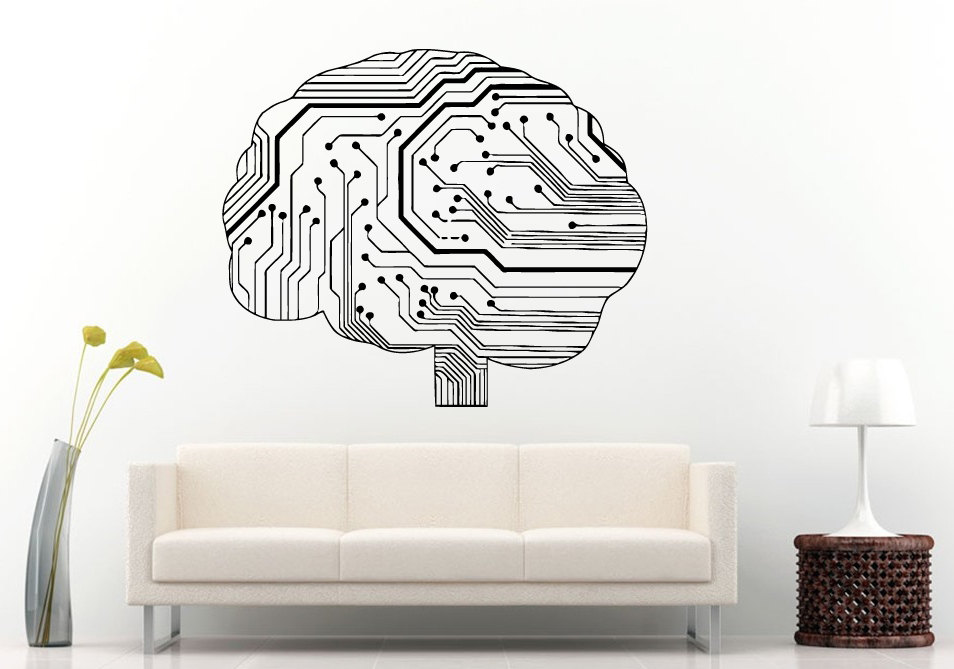Special Wall Sticker Neurelectric Human Brain Circuit Board Decal Vinyl Room Decor House Interior Poster NY 409