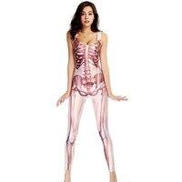 Nieuwe full body Volwassen Skeletschedel Halloween Singer Kostuum Dance Overalls Catsuit Jumpsuit Lady Catsuit Zentai Pak