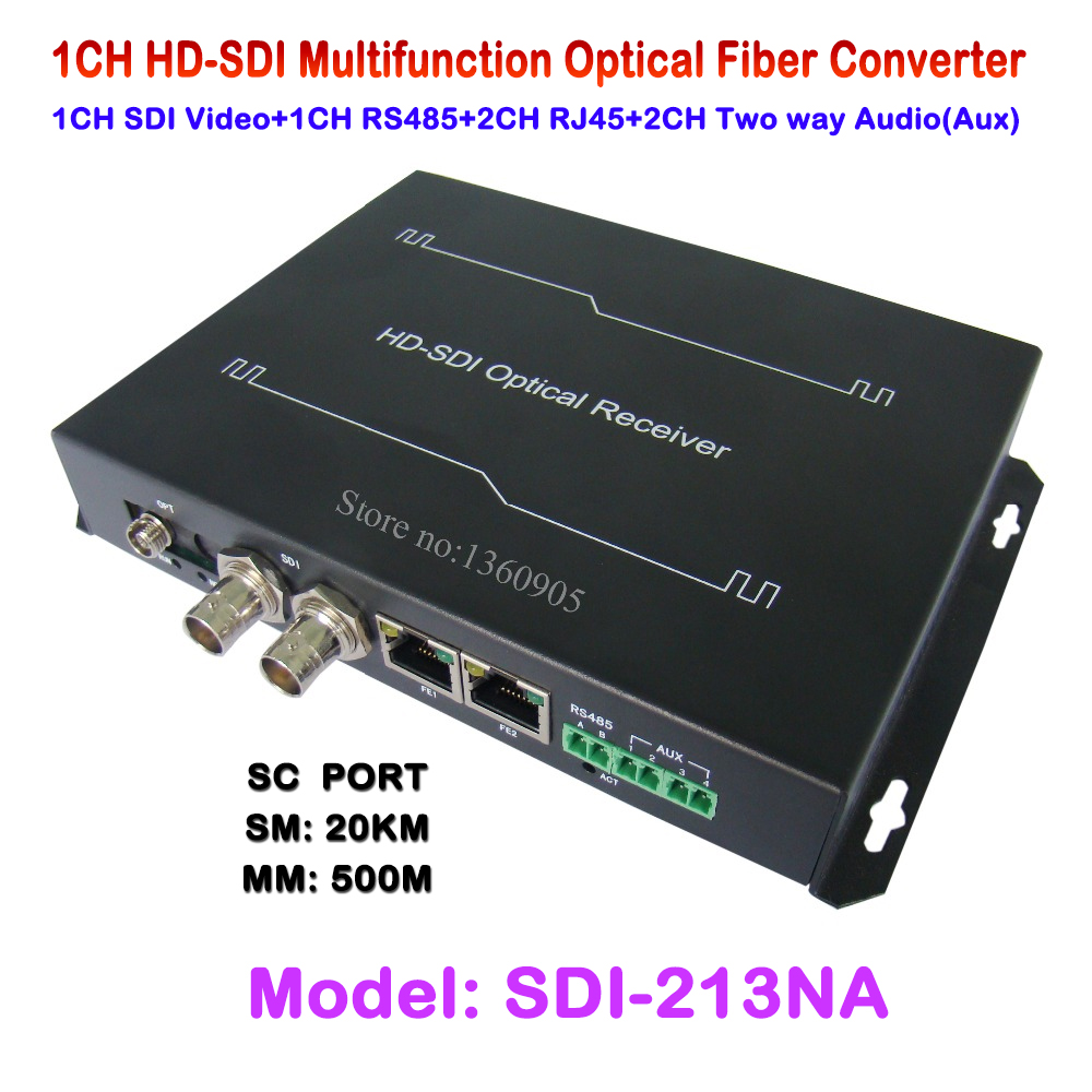 New 1CH HDSDI Multifunction Optical Media Converter 1080P Transceiver -Video/Ethernet RJ45/RS485 Data/ Audio Over Single Fiber