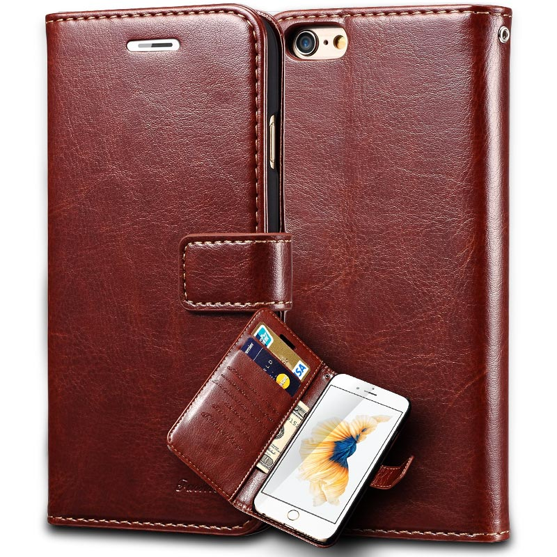 6S Vintage Wallet PU Leather Case for iPhone 6 S 6S 6 Plus