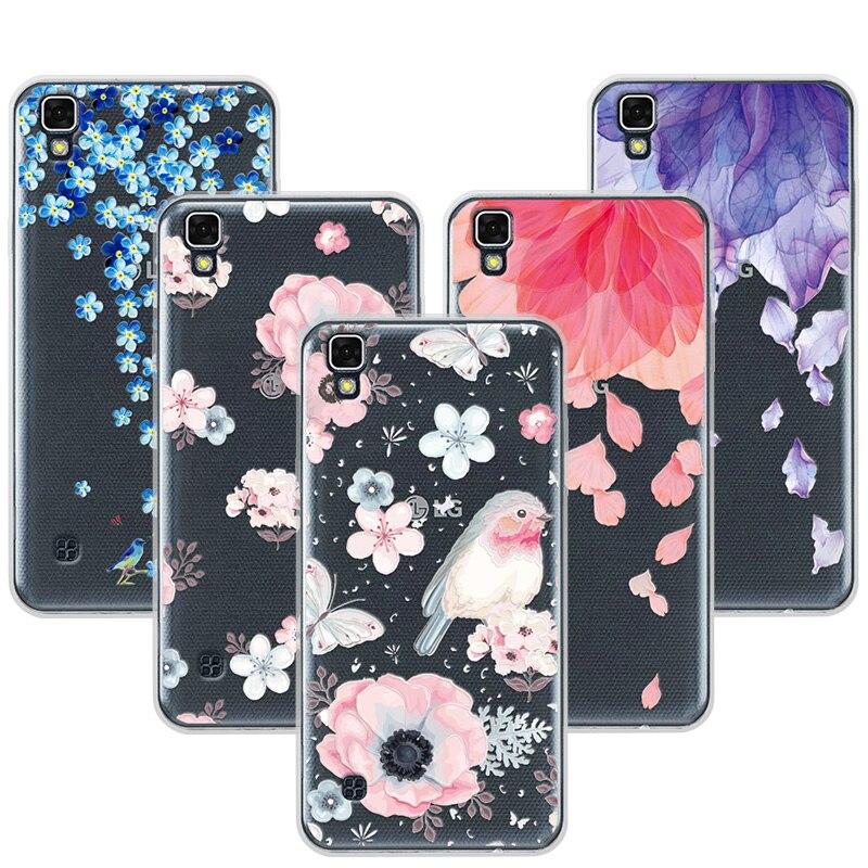 3D Книги по искусству печати чехол Coque для LG X Стиль 5.0 дюймов Мягкие TPU цветка Кружево рельеф Телефонные чехлы Чехол для LG X Стиль k200ds X кожи f740l