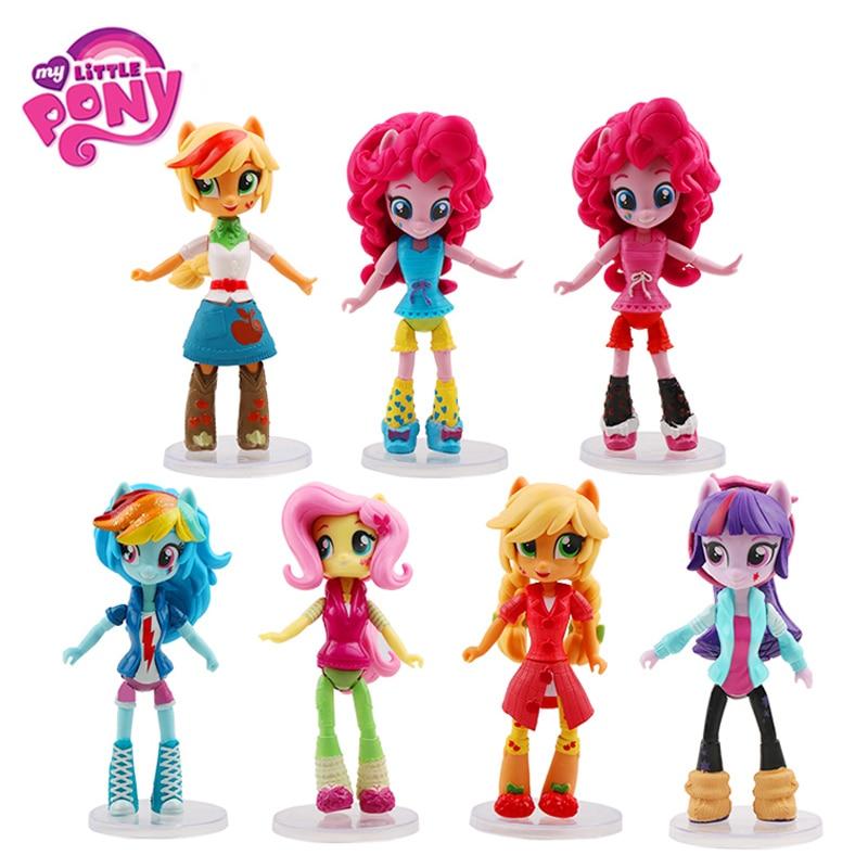 7 unids/set 14 cm Hasbro mi pequeño Pony juguetes de la magia de la Amistad Pony de acción   PVC figuras de acción de colección de muñeca modelo muñecas para los niños