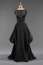 1948 American Black Stripe Bustle Dress Antique Victorian Dessing Table