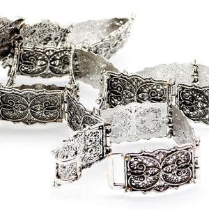 Image 4 - SUNSPICE MS Vintage Wedding Belt Flower Sash For Women Antique Silver Color Adjustable Length Caftan Rhinestone Bridal Jewelry