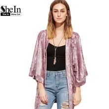 SheIn 2017 Spring Women Clothes Pink Kimono Open Front Three Quarter Length Sleeve Crushed Velvet Vintage Kimonos