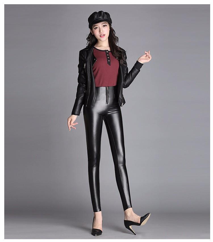 High Quality Black Pants Women Autumn Fashion Sexy Zipper Pu Leggings Pencil pants Pantalon Femme Leather Pants Plus Size 2016 e