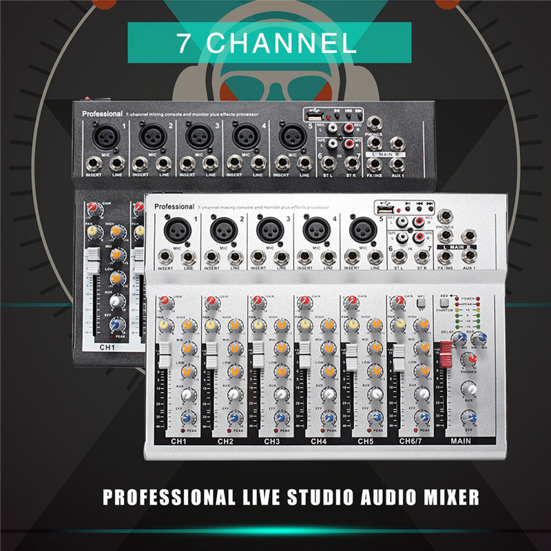 LEORY Professional DJ Mixing Console USB 48V Mini 7 Channel Live Studio Audio Mixer KTV Network Sound Card Sound Console Mixer professional 4 channel live mixing studio audio sound console network anchor portable mixing device vocal effect processor