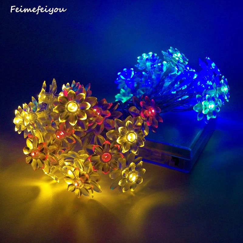 Feimefeiyou 20 LED Battery Operated String Flower lotus Fairy Light Wedding Room Garden Christmas Decor REG/WHITE/PINK 9 COLORS
