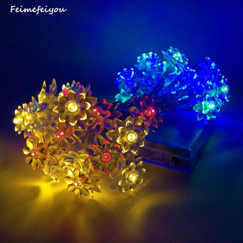 Feimefeiyou 20 Led Battery Operated String Flower Lotus Fairy Light Wedding Room Garden Christmas Decor Reg