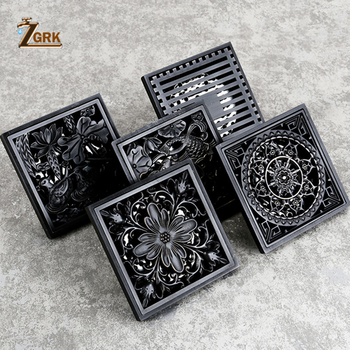 ZGRK Drain 10cm Square Black Brass Shower Drain Strainer Floor Cover Art Carved Balcony Bathroom Bath Accessories Grate Waste 24 long floor drain stainless steel bathroom shower square floor waste grate sanitary pop up drain
