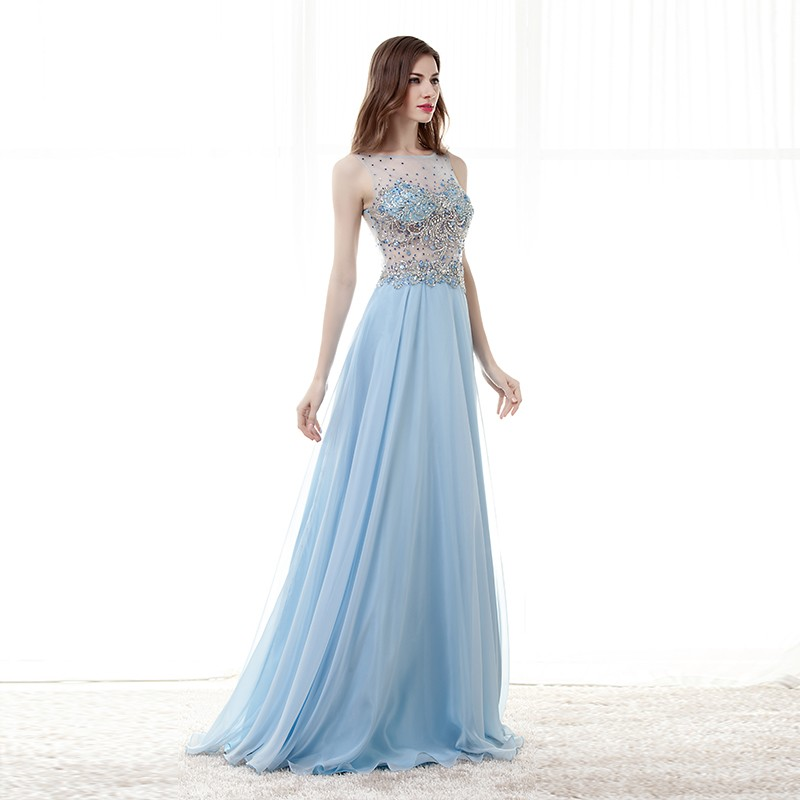 e3aac4a35137b 2019 Ice Blue Prom Dresses Long Graduation Dress Party Sheer Back See  Through High Beaded Great Gatsby Vestido De Gala
