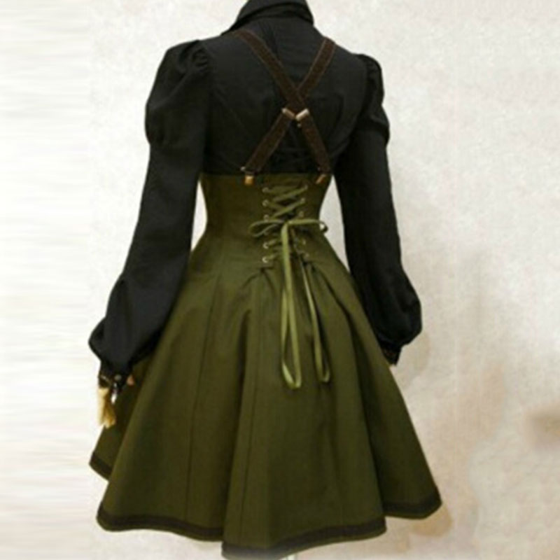 Apperloth Clearance Sale Gothic Dress women high waist overall dresses army green strap back cross pleated dress A-Line Dresses 1