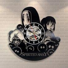 2017 Hot Vinyl Record Wall Clock Studio Ghibli Spirited Away Theme Art Watch Clock Mechanism Black Duvar Saati Home Decorative