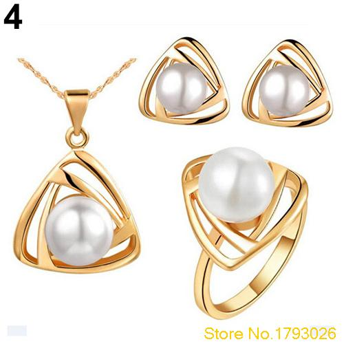 Elegant Women's Chic Wedding Pearl Jewelry Set Triangular Pendant Necklace Earrings Ring 4TGI