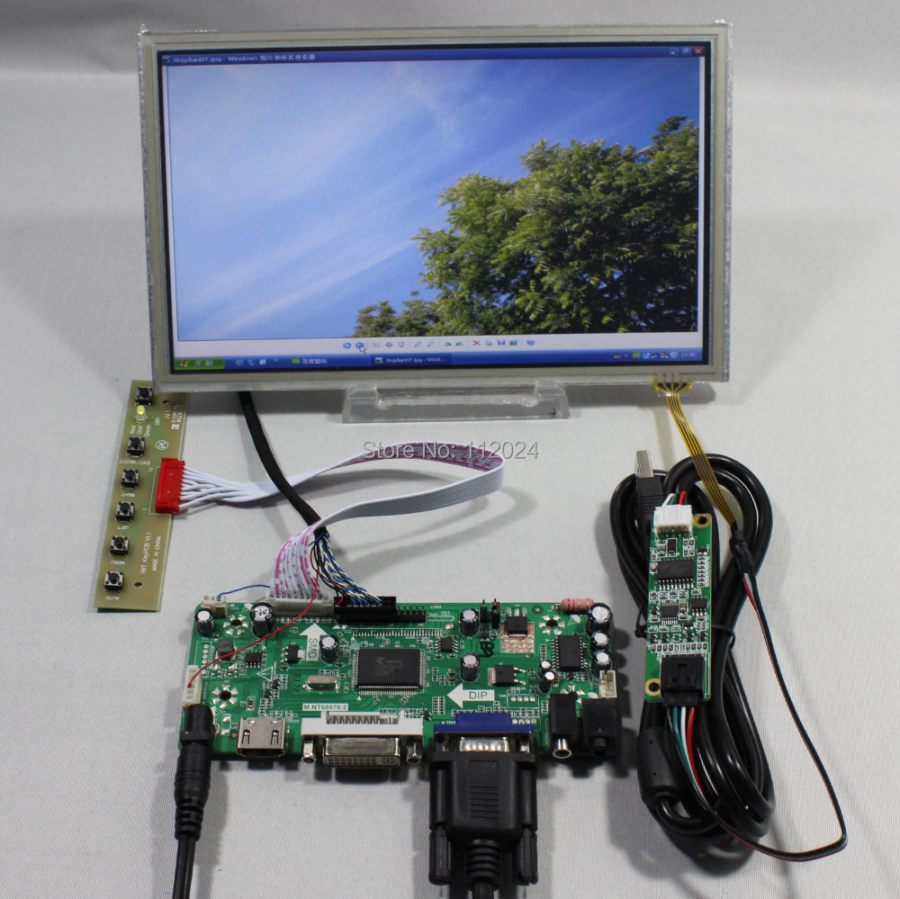 HDMI VGA DVI Audio lcd controller board NT68676 8.9inch HSD089IFW1 1024x600 lcd screen touch panelHDMI VGA DVI Audio lcd controller board NT68676 8.9inch HSD089IFW1 1024x600 lcd screen touch panel