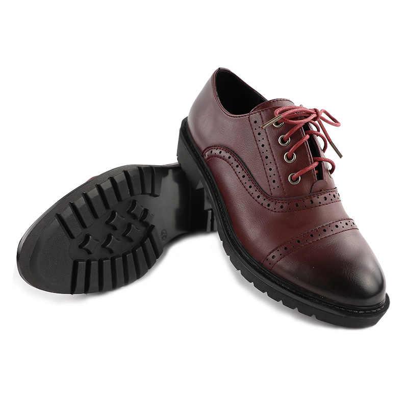 2019 moda mujer primavera otoño zapatos Oxford planos estilo británico Vintage zapatos blandos de poliuretano cuero rojo Casual Retro Brogues