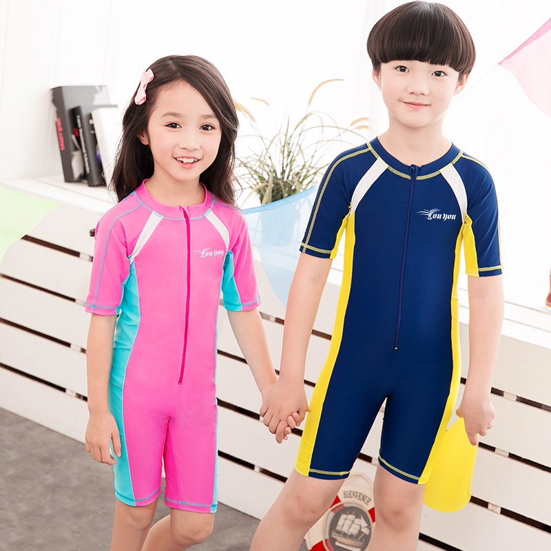 One Piece Kids Baby Boys Girls Swimsuit Children Beach Wear Diving Swimming Suit Swimwear Swimsuits Short Sleeve Bathing Suits