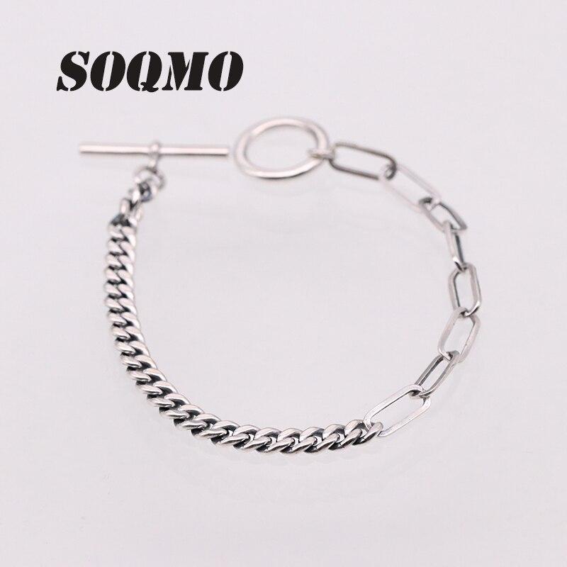 SOQMO métier à tisser bandes Couple Bracelet 100% 925 bijoux en argent Sterling hommes femmes Bracelet Bracelet 2018 amour anniversaire cadeau marque SQM180