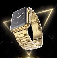 для Apple, часы 42 мм группа черного золота нержавеющая сталь браслет туфли с замечание и пряжкой клип адаптер для 38 мм Apple, часы группа для часов iwatch