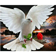 Rose And Pigeon 5D DIY Diamond Embroidery Picture Of Crystals Mosaic Diamond Painting Hobbies And Crafts Home Decoration M225