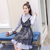 Europe And The United States Lace Striped Two Piece Suit Summer Dress Woman Black Robe Dress