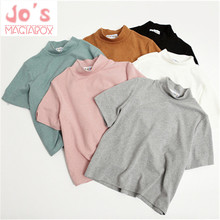 2017 New Summer Candy Color Women Round Neck Short-sleeved Cut out T-shirt Female Cotton Solid Casual Tees Tops Clothes TS050