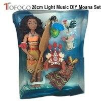 TOFOCO 28 cm Luce Musica FAI DA TE Bambole Pupazzi Moana Maui Pulcino Heihei Spotted Pig Toy Modello Doll Per Le Ragazze Scherza I Regali Di Natale