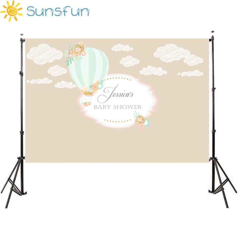 Sunsfun 7x5ft Photography Backdrops Hot Air Balloons Party Birthday Cloud Background Newborn Baby Shower Photocall 220 X 150cm