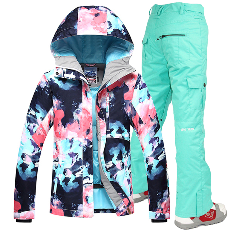 Gsou Snow -30 Women skiing suit sets snowboarding clothes waterproof & windproof winter snow outdoor ski jackets + Pants gsou snow brand ski pants women waterproof high quality multi colors snowboard pants outdoor skiing and snowboarding trousers