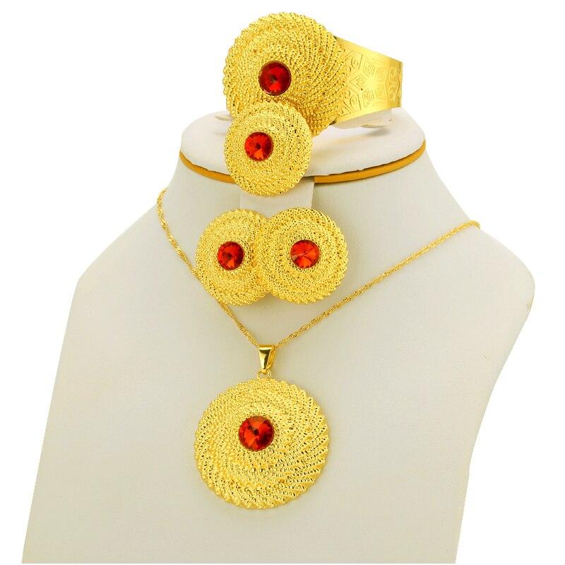 Եթովպիական զարդերի հավաքածու Ոսկե - Նորաձև զարդեր - Լուսանկար 5