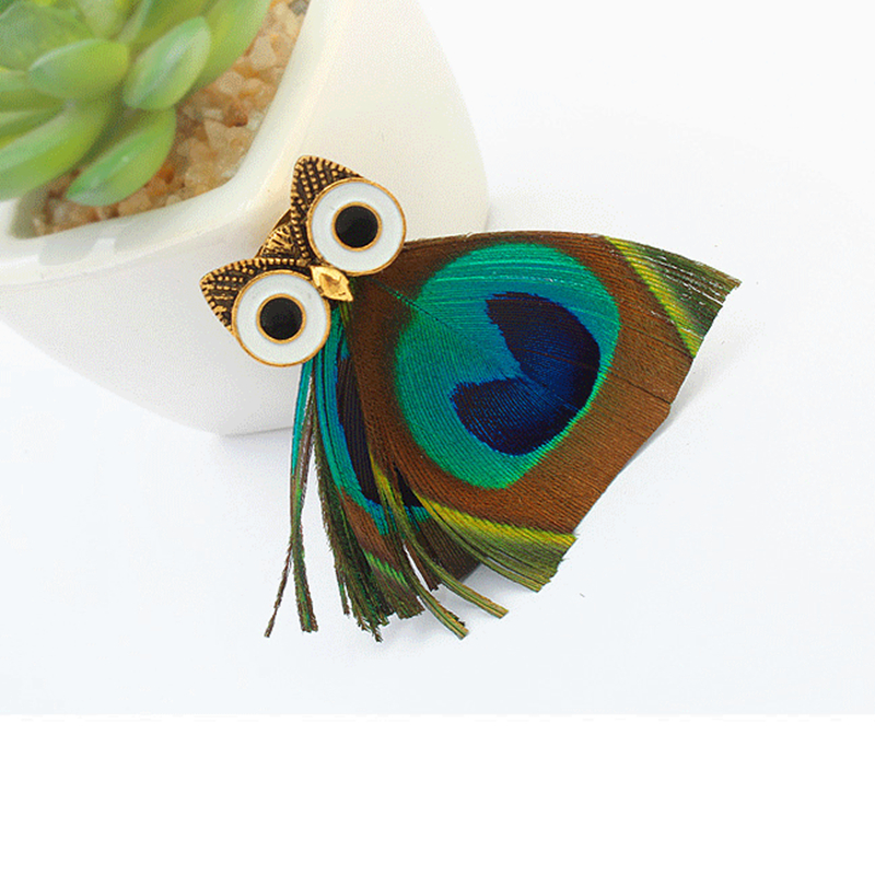 DoreenBeads 6.5x5cm Fashion Animal Owl Shape Brooch Feather Handmade Safety Pin Ornament for Scarf Sweather Coat Hat Bag Decor